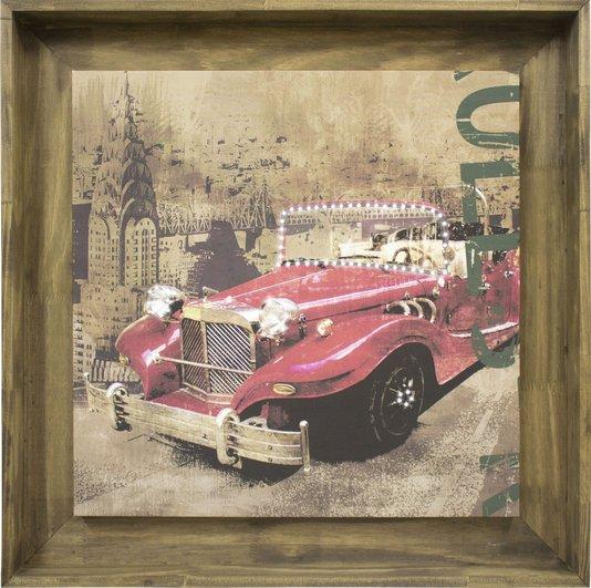 Quadro Decorativo com Strass Impressão Digital em Tela Carro Antigo Vermelho 80x80cm