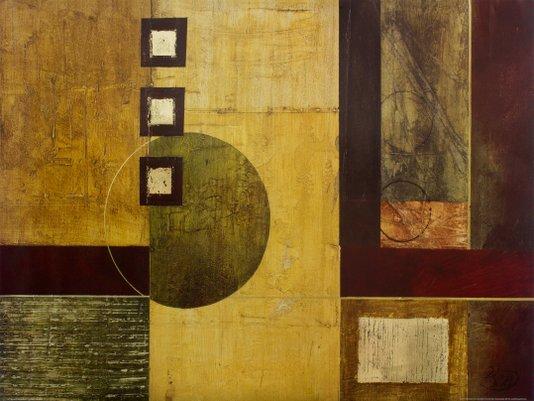 Gravura para Quadros Abstrato Dourado e Vermelho 80x60cm