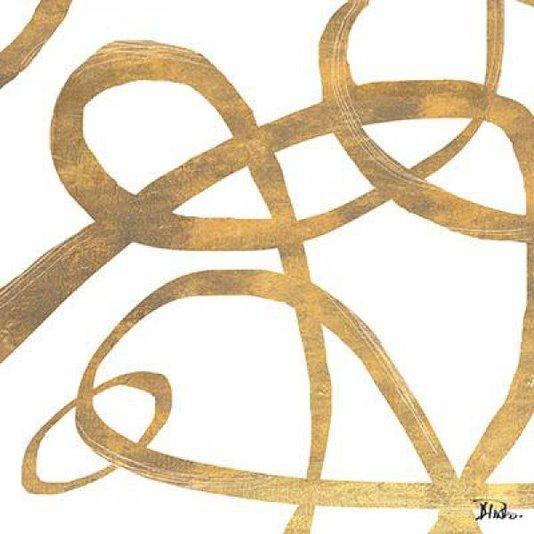 Gravura Abstrata para Quadros Redemoinhos de Ouro Ii de Patricia Pinto 60x60cm