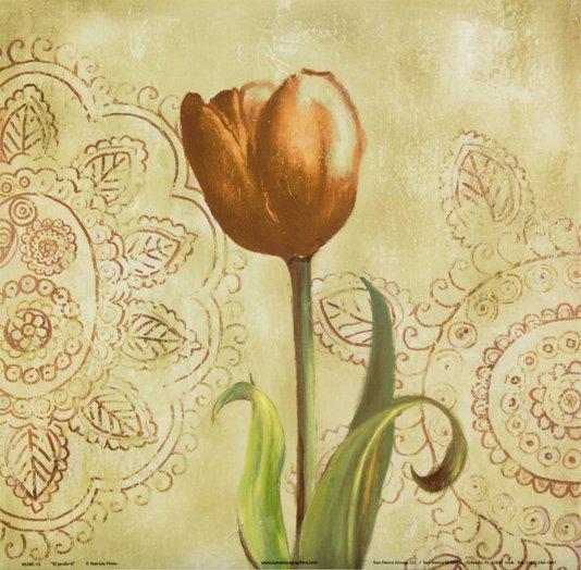 Gravura para Quadros O Jardim Tulipa Vermelha 30x30cm