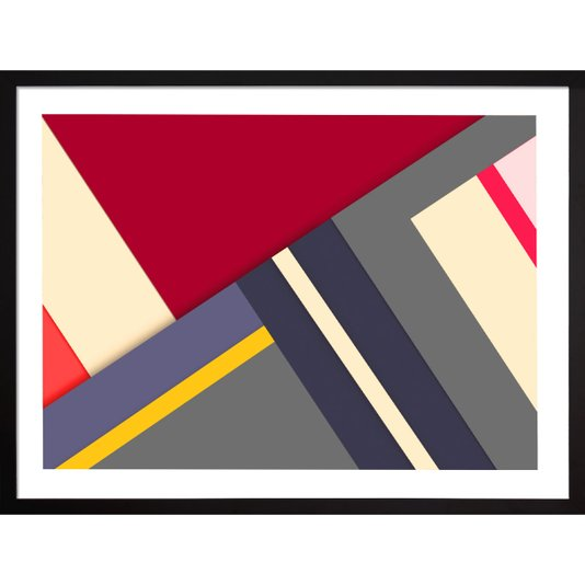 Quadro Colorido Abstrato com Moldura Preta Laqueada 80x60cm