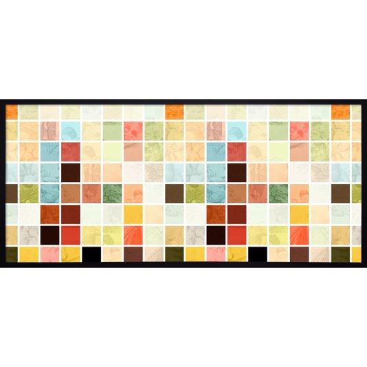 Quadro Decorativo com Moldura Preta Arte Geométrica com Ilustração 150x70cm