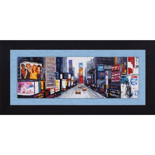 Quadro Tela Decorativa com Moldura Times Square Nova York 190x90cm