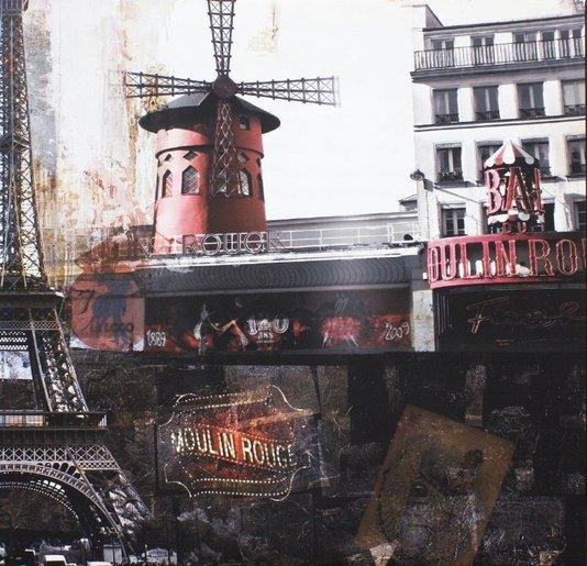 Quadro Tela Impressa Moulin Rouge Paris França 60x60cm
