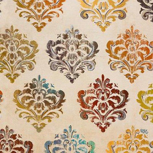 Gravura Abstrata para Quadros Damascos Coloridos II de Tiffany Hakimipour 46x46cm