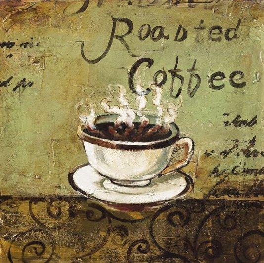 Quadro Tela Impressa Xícara de Café Roasted Coffee 60x60cm