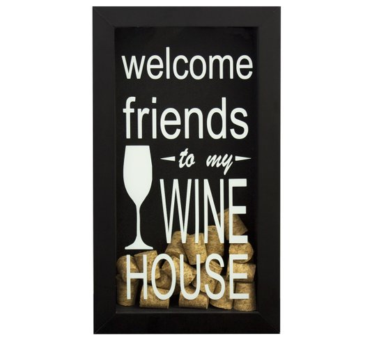 Quadro Decorativo Porta Rolhas Vinho Welcome Friends To My Wine House