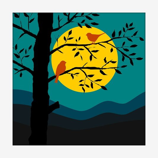 Quadro Decorativo Mold. Branca Minimalista Ilustração Sunset Passarinhos 20x20cm