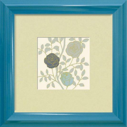Quadro Decorativo Floral com Três Flores Azul Vintage 40x40cm