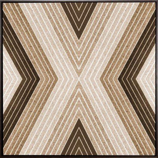 Quadro Decorativo Tela Canvas Abstrata Geométrica com Moldura Marrom 60x60cm