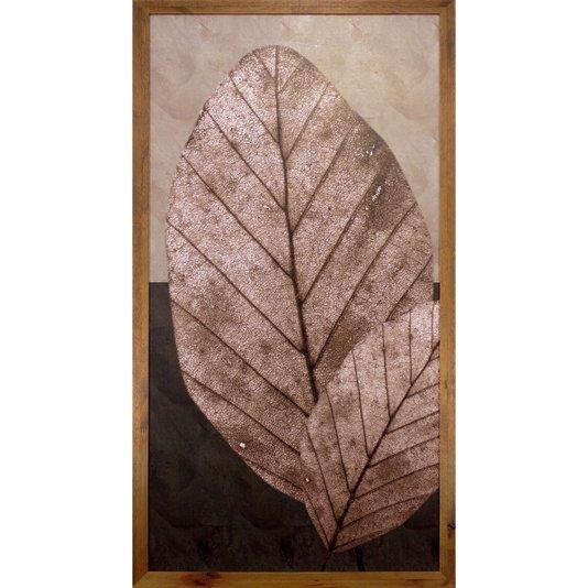 Quadro Decorativo Rústico Folhas Marrons em Tom Envelhecido 50x100cm