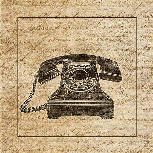 Gravura para Quadros Vintage Telefone Antigo 30x30cm