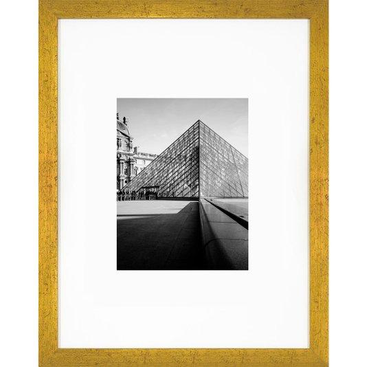 Quadro com Moldura Dourada Entrada Museu do Louvre 30x40cm