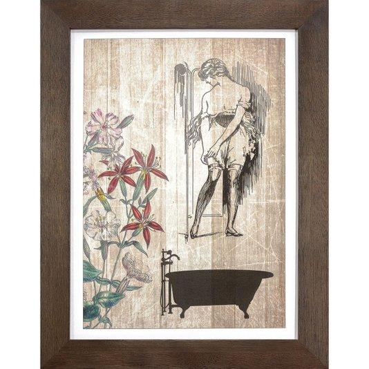 Quadro Pequeno com Moldura Rústica Banheira, Mulher e Flores em Tom Envelhecido 25x35cm