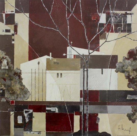 Gravura para Quadros Arte Abstrata Casas 70x70cm
