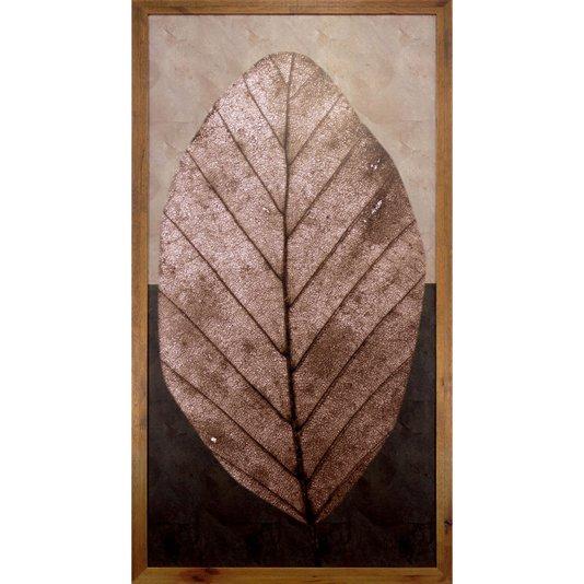 Quadro Decorativo Rústico Folha Marrom em Tom Envelhecido 50x100cm
