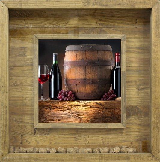 Quadro Porta Rolhas de Vinhos 60x60cm