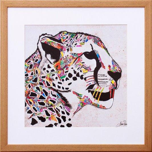 Quadro Decorativo Ilustração Onça Colorida 40x40cm