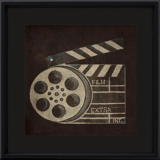 Quadro Decorativo Retrô Cinema Carretel de Filme 40x40cm