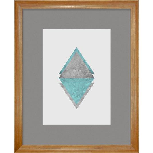 Quadro Decorativo Arte Moderna Triângulos e Losango Verde Água 90x110cm