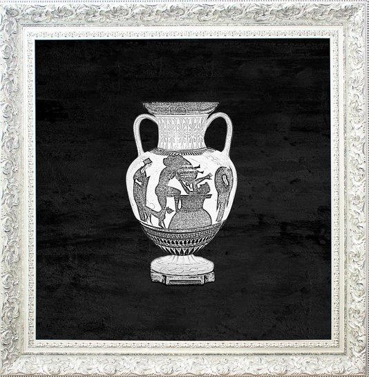 Quadro Decorativo com Moldura Branco Provençal Ânfora II - 100x100cm