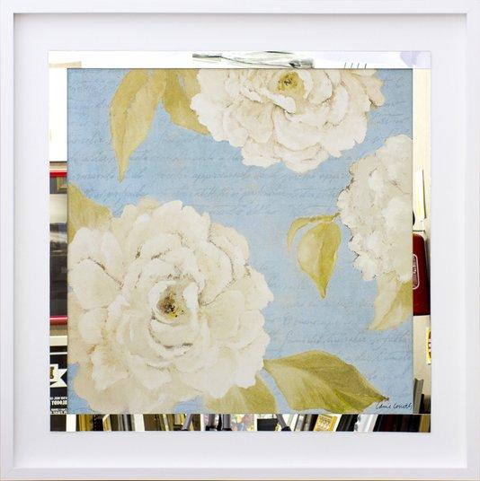 Quadro Decorativo com Espelho Floral Flores Brancas II - 80x80cm
