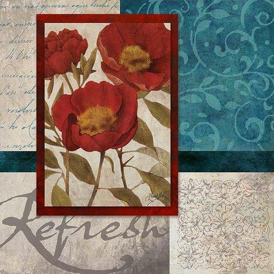 Gravura para Quadros Flor Papoula Vermelha 30x30cm