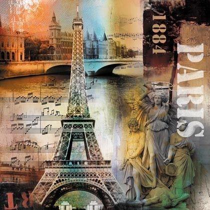 Quadro Tela Impressa Paris 1884 Torre Eiffel 60x60cm