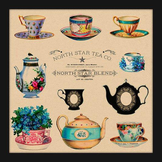 Quadro Pequeno Decorativo Xícaras de Chá Vintage
