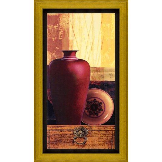 Quadro com Moldura Dourada e Impressão Digital em Tela Vasos 40x70cm