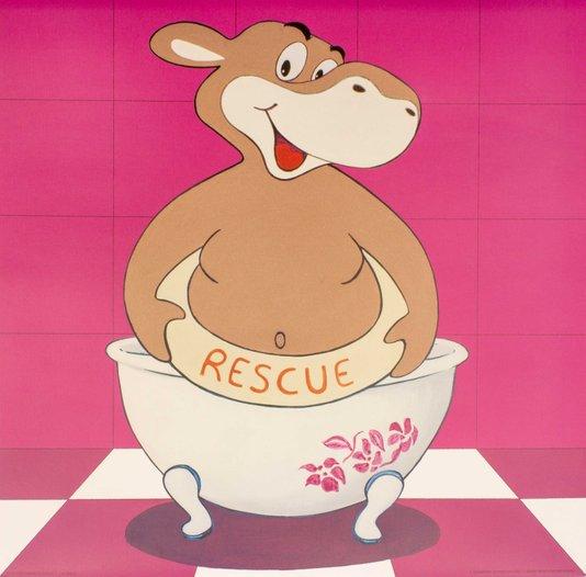 Gravura para Quadros Hipopótamo Tomando Banho 30x30cm
