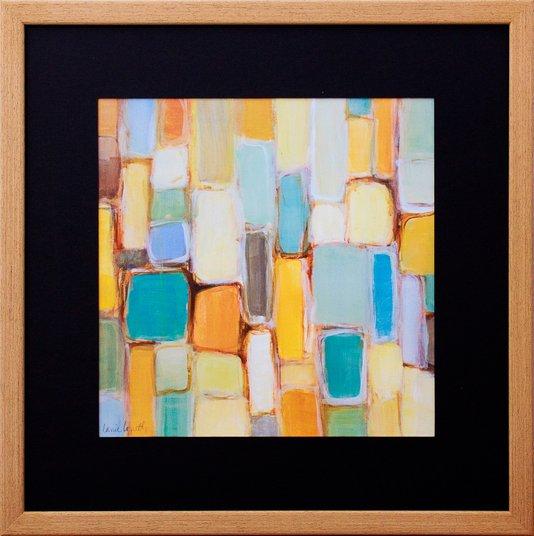 Quadro Decorativo Abstrato Colorido com Moldura Rústica 45x45cm