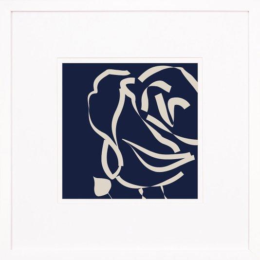 Quadro Decorativo Floral Silhueta Rosa com Moldura Branca 60x60cm