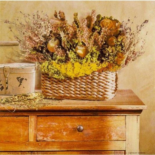 Gravura para Quadros Importada Cesto com Flores 18x18cm