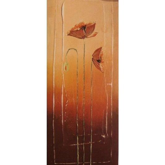 Gravura para Quadros Floral em Fundo Laranja Ii - 20x50cm
