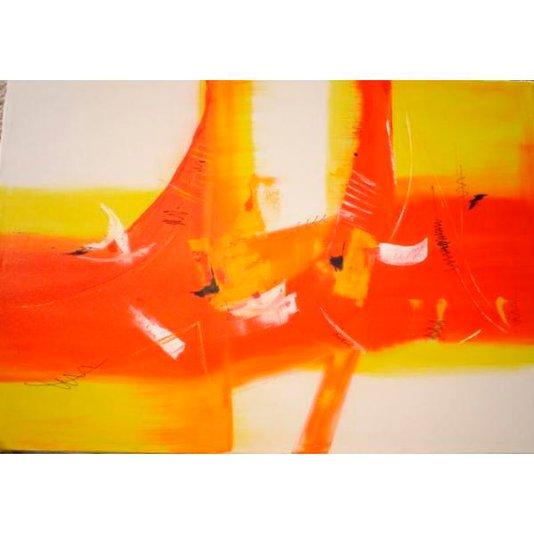 Quadro Pintura a Mão Abstrato Técnica Acrílica Sobre Tela 110x70cm