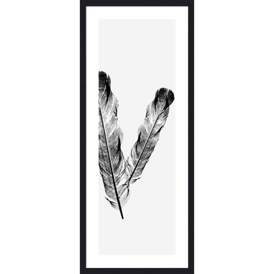 Quadro Decorativo com Moldura Preta Ilustração Penas 40x100cm