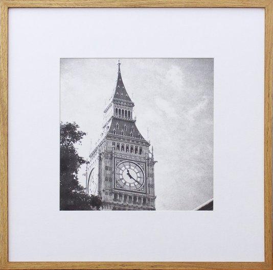 Quadro Decorativo com Moldura na Cor Carvalho Torre Big Ben de Londres Inglaterra 50x50cm