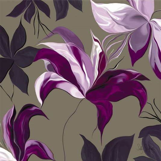 Gravura para Quadros Flores Roxas 60x60cm
