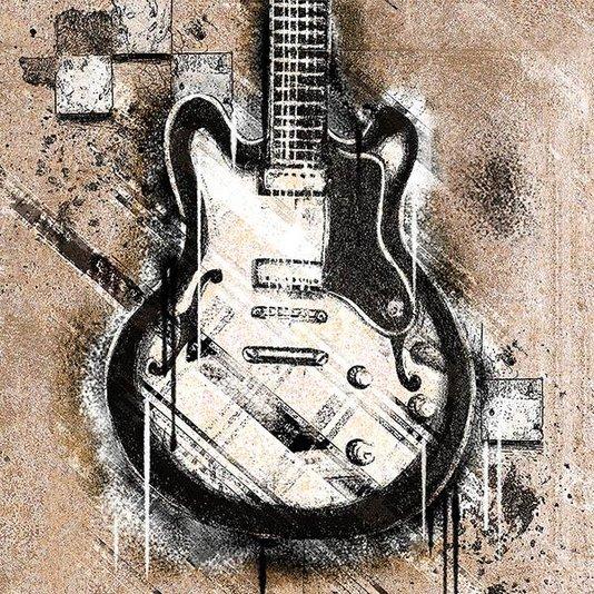 Gravura para Quadros Guitarra Preta e Branca 30x30cm