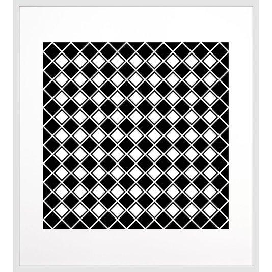Quadro Geométrico Decorativo Preto e Branco com Moldura Branca II 90x100cm