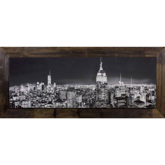 Quadro Tela Decorativa com Moldura Rústica Nova York em Preto e Branco 170x70cm