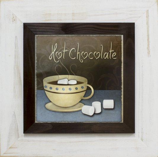 Quadro Decorativo Rústico Xícara de Chocolate Quente s/ Vidro 50x50cm