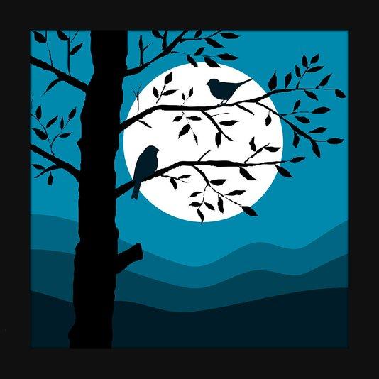 Quadro Decorativo Imagem Minimalista Ilustração Noite Passarinhos 20x20cm