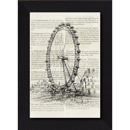 Tela Decor com Moldura Desenho Roda Gigante London Eye 75x105cm
