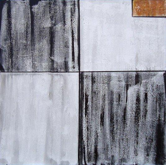 Quadro Abstrato Black and White Pintura em Tela 100x100cm