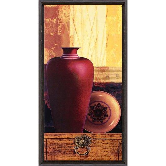 Quadro Decorativo Vaso Vermelho II Impresão Digital em Tela 30x60cm