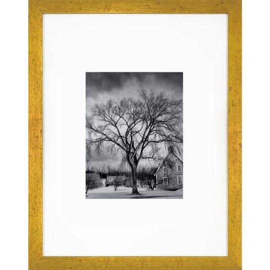 Quadro Decorativo com Moldura Dourada Árvore Paisagem de Inverno 30x40cm