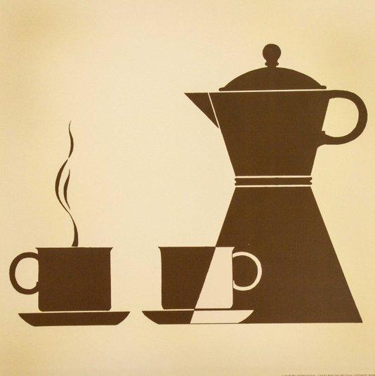 Gravura para Quadros Xícaras de café e Bule 30x30cm