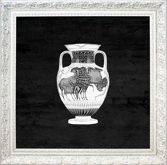 Quadro Decorativo com Moldura Branco Provençal Ânfora 100x100cm